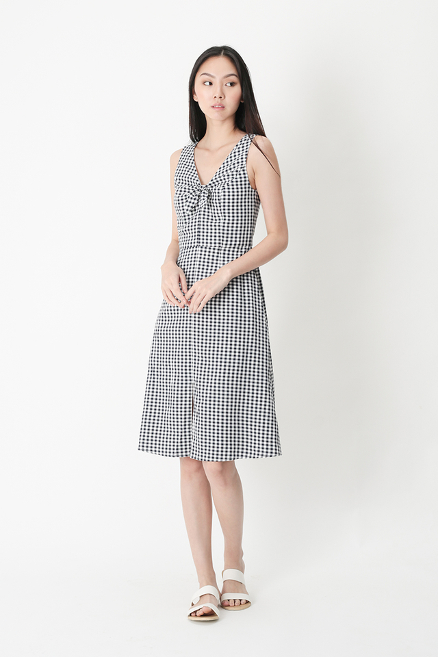 BONNIE BOW GINGHAM DRESS IN NAVY