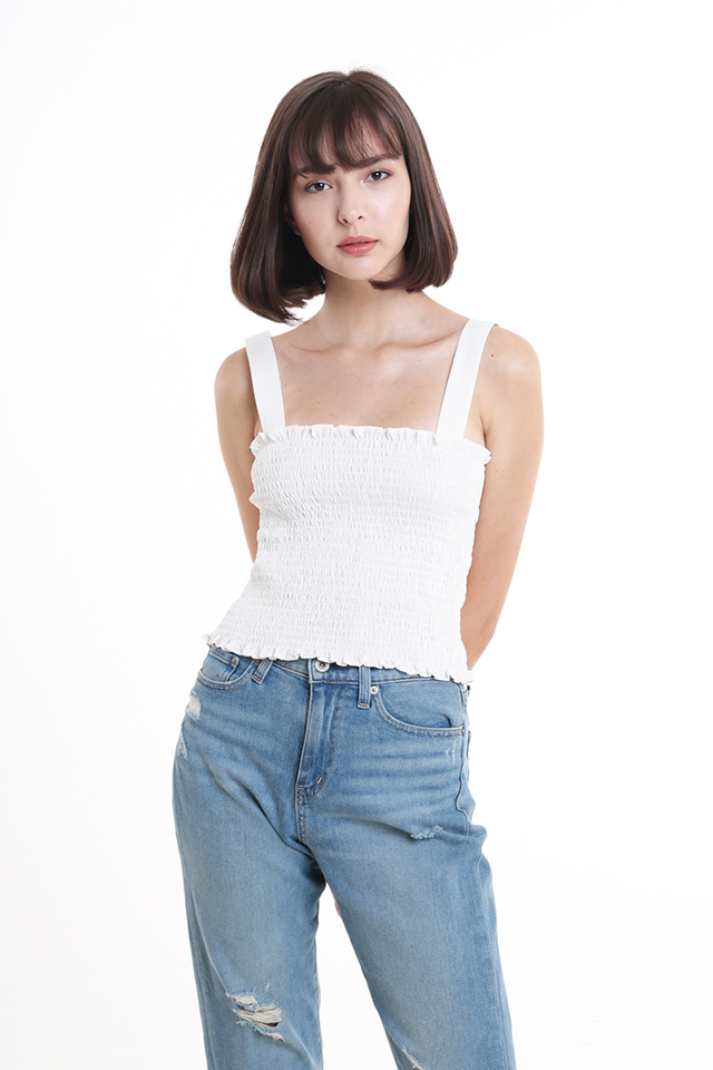 ELLERY RUCHED TOP IN WHITE