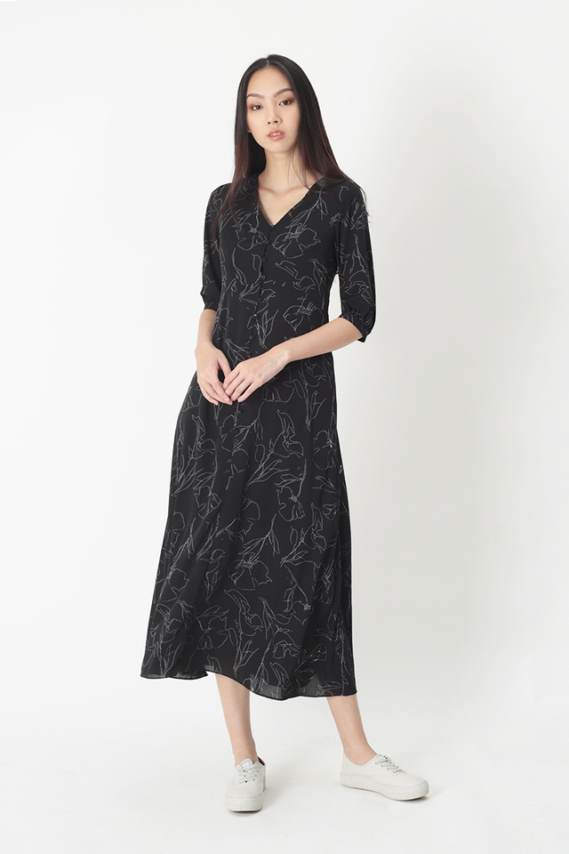 JUSTINA ABSTRACT BUTTON DRESS IN BLACK