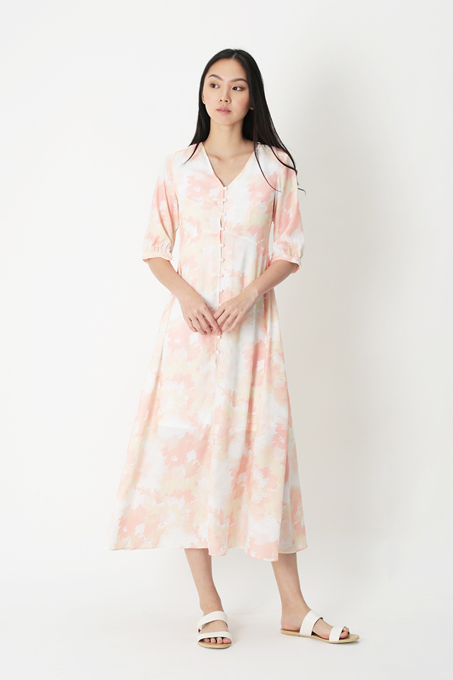 JUSTINA WATERCOLOUR BUTTON DRESS IN MARMALADE