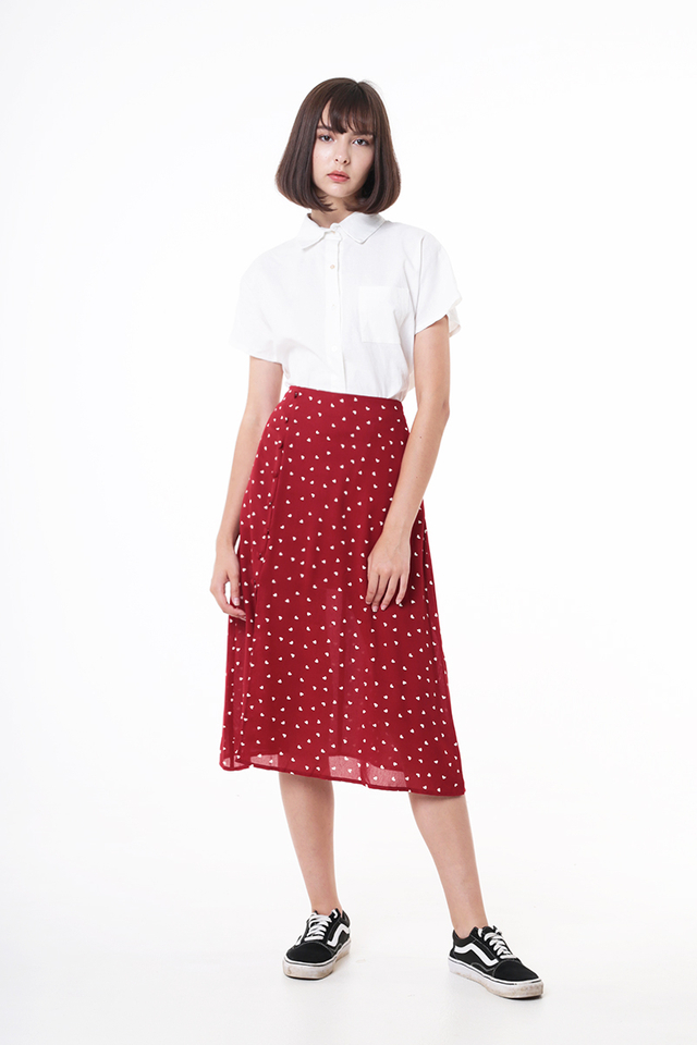 MONICA MINI HEARTS A-LINE SKIRT IN RED