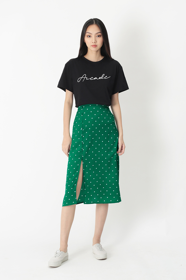 MONICA POLKADOT A-LINE SKIRT IN KELLY GREEN