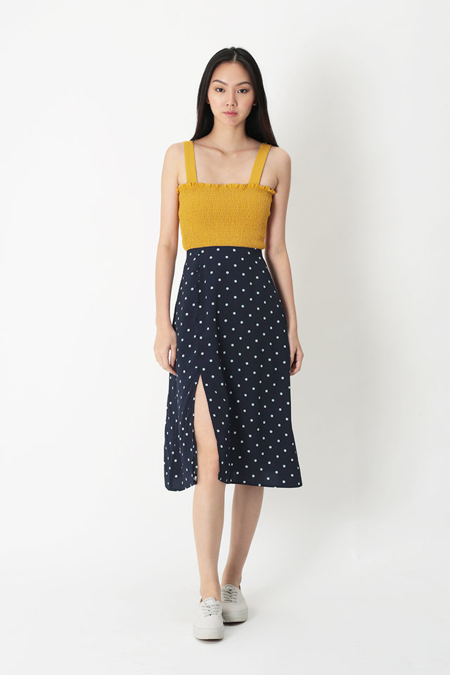 MONICA POLKADOT A-LINE SKIRT IN NAVY