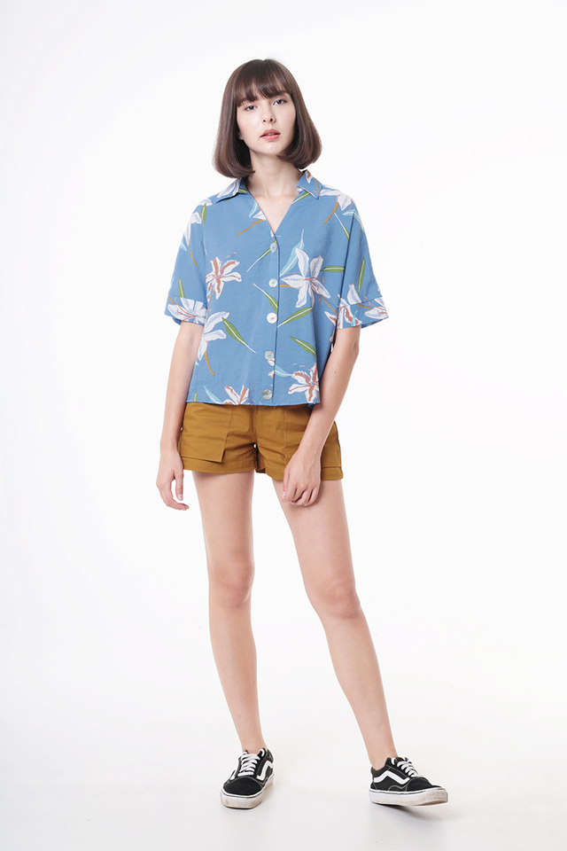 SEAS THE DAY FLORAL SHIRT IN BLUE
