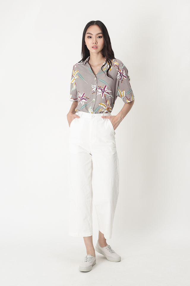 SEAS THE DAY FLORAL SHIRT IN GREY