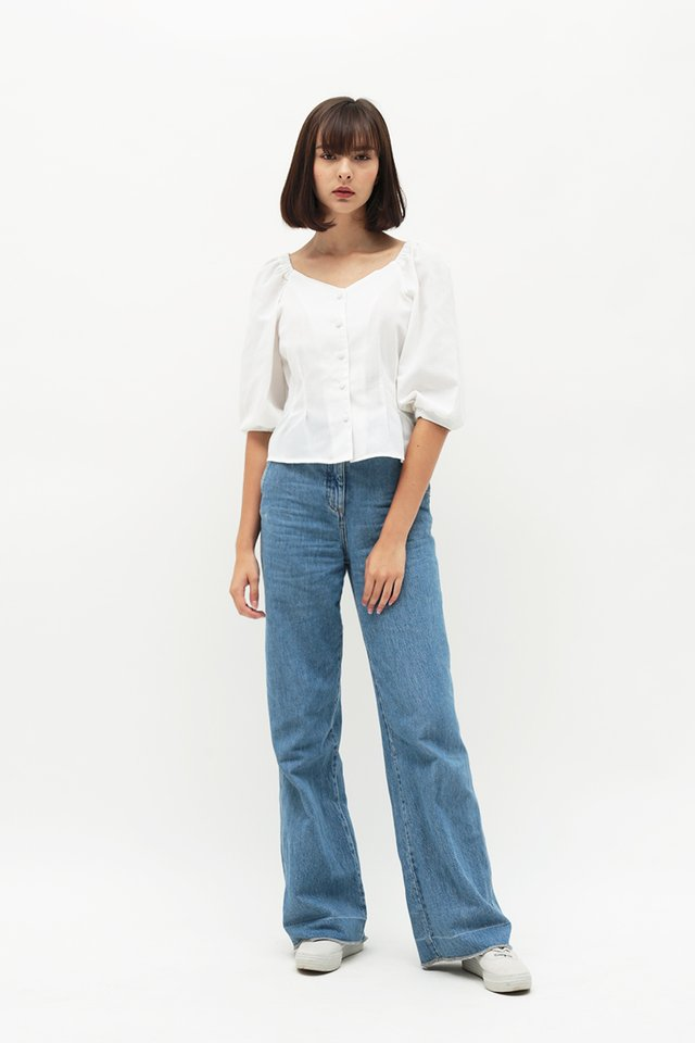 BETH BUTTON BLOUSE IN WHITE