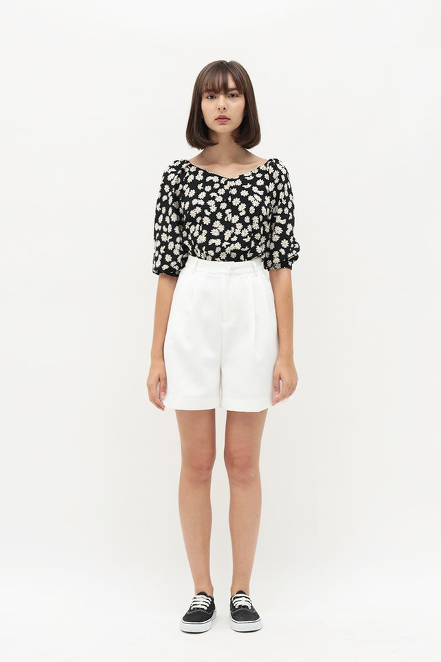 BETH FLORAL BUTTON BLOUSE IN BLACK