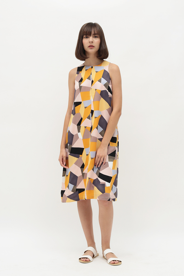 DAKOTA GEOMETRIC DRESS IN HONEY