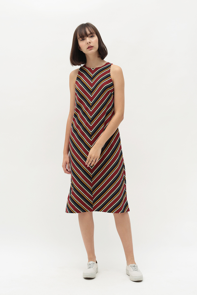 DAKOTA STRIPE DRESS IN RED