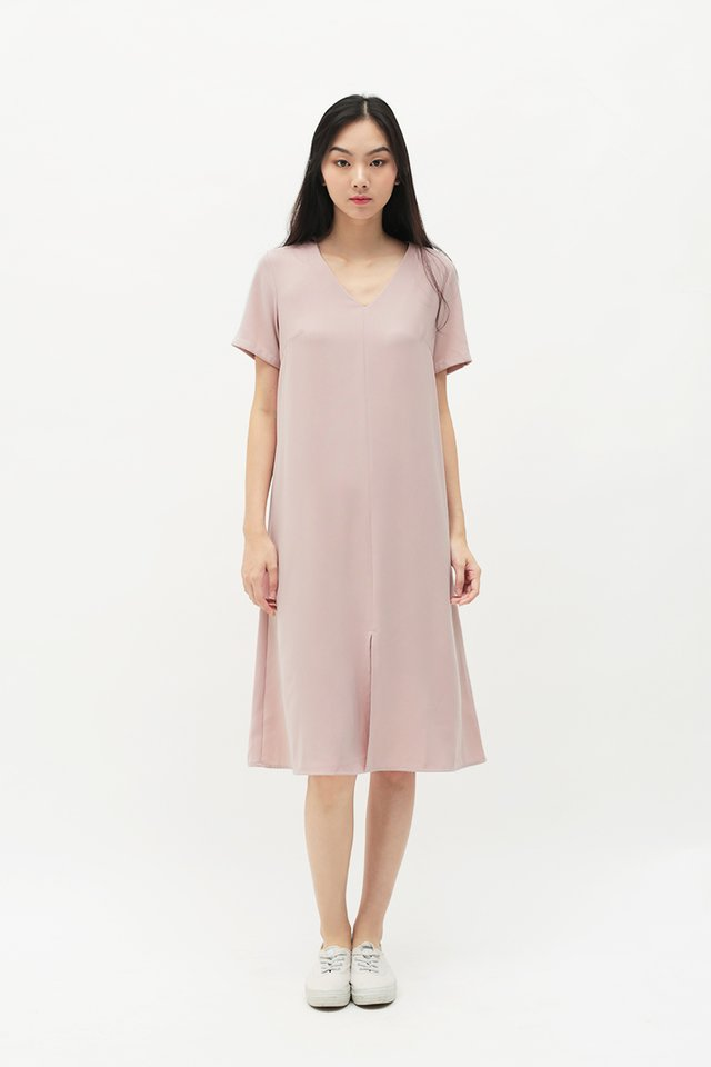 EVERLY V-NECK DRESS IN FRENCH PINK