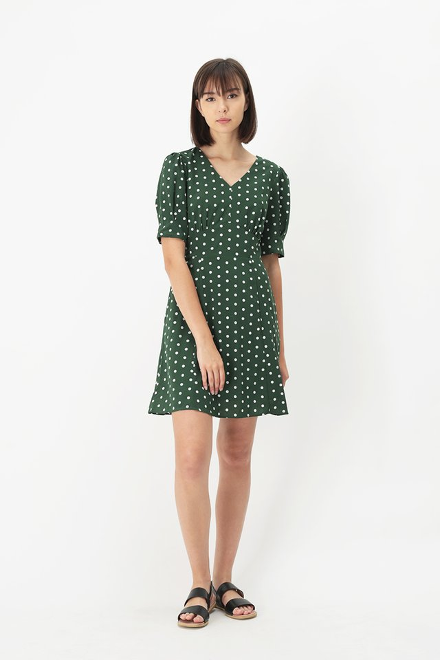 GERMAINE POLKADOT SWING DRESS IN FOREST