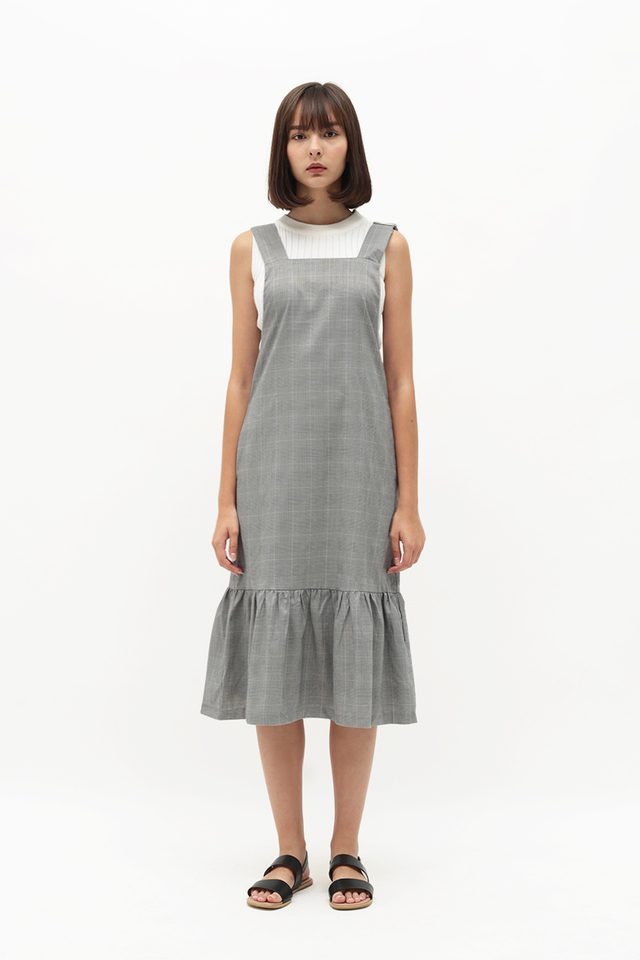 KAMILLE CHECKERED PINAFORE DRESS IN GREY