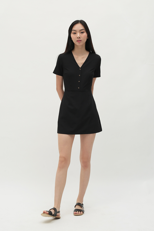 MARISSA V-NECK ROMPER DRESS IN BLACK