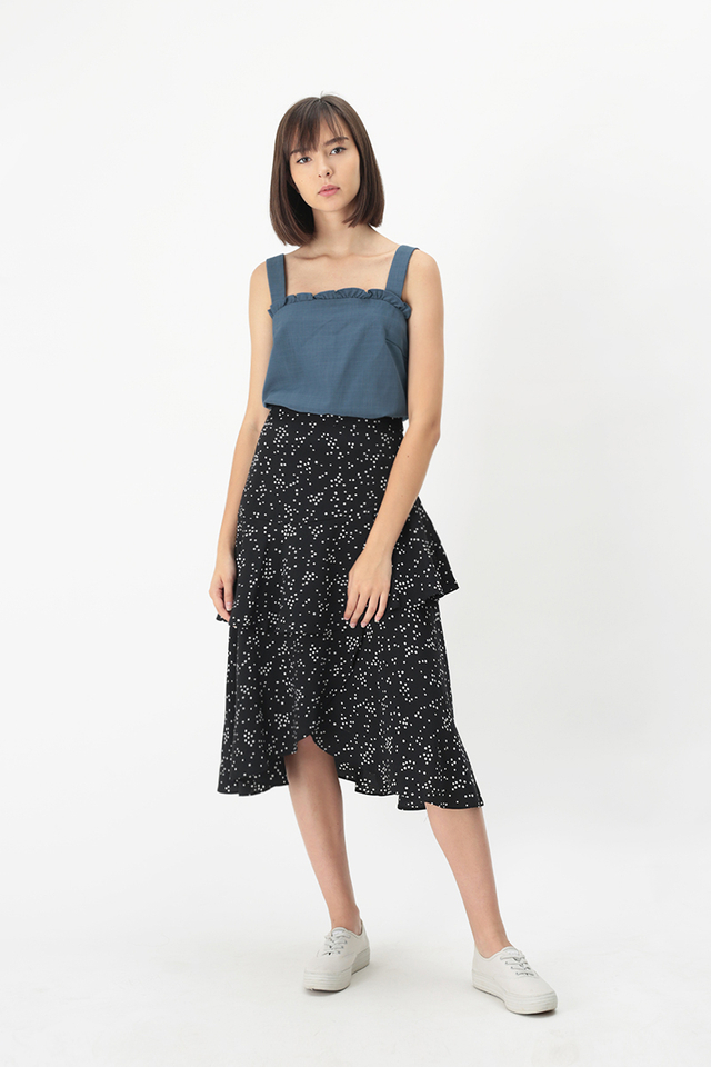 NICOLETTE DOTTY TIER SKIRT IN BLACK