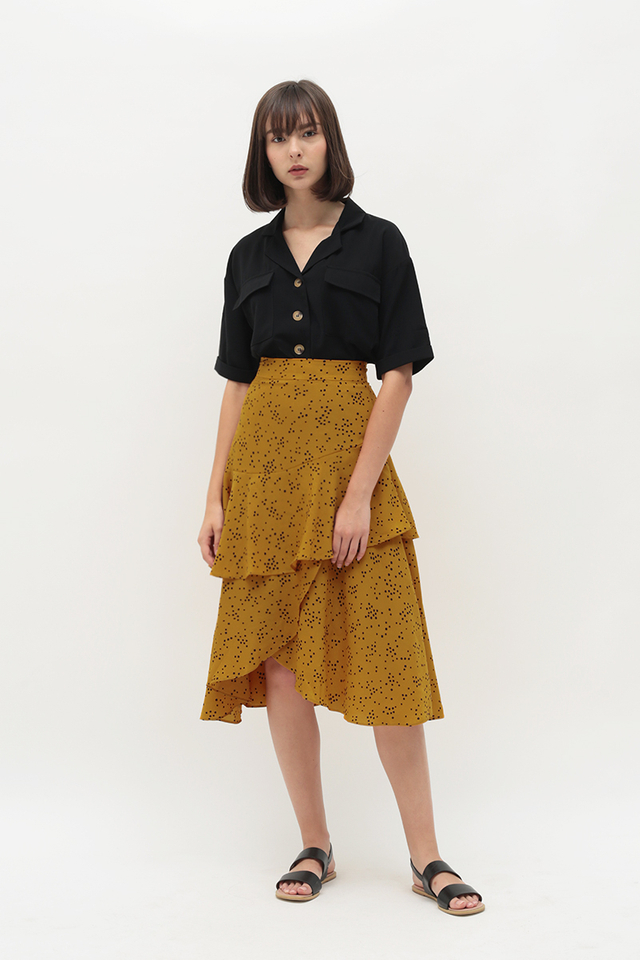 NICOLETTE DOTTY TIER SKIRT IN MUSTARD