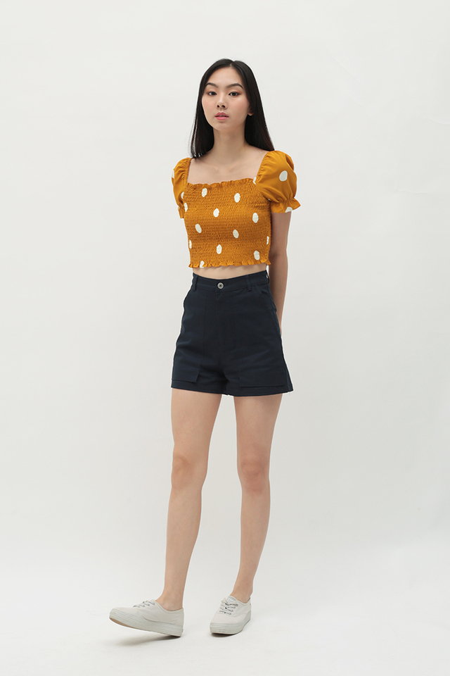 RAELYNN POLKADOT RUCHED TOP IN MUSTARD