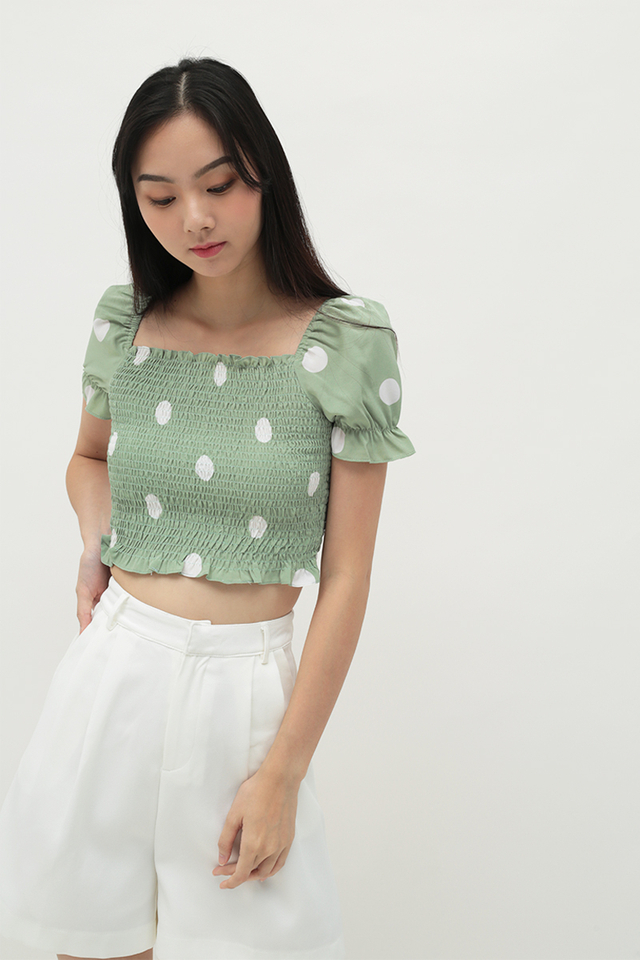 RAELYNN POLKADOT RUCHED TOP IN SAGE