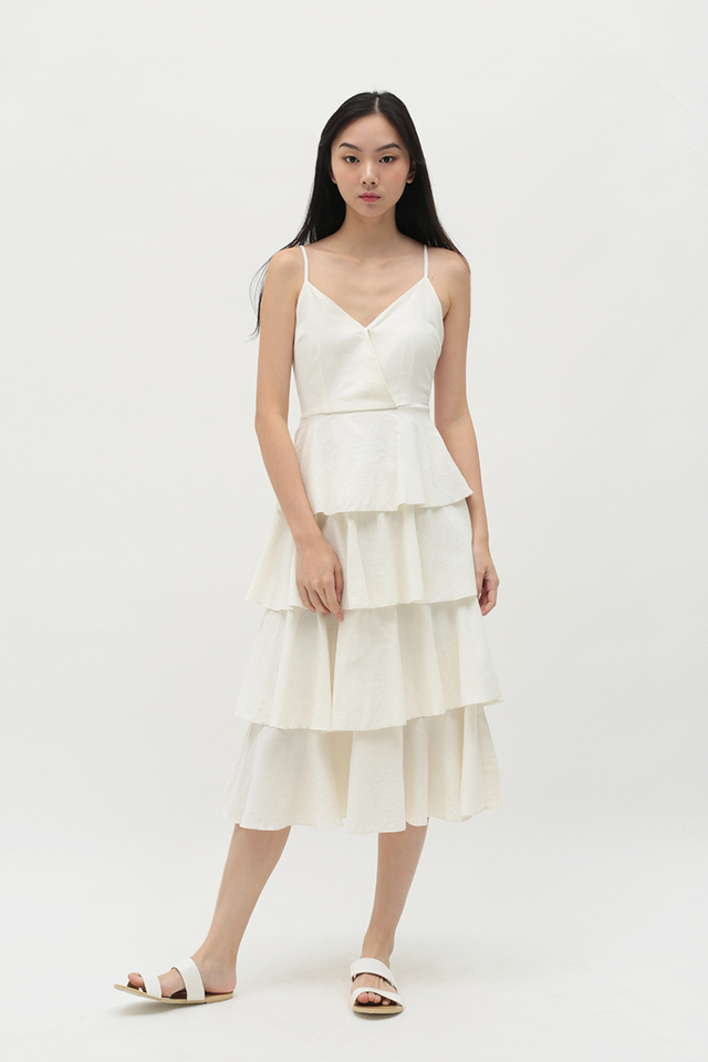 SOPHIA CUPCAKE MIDI DRESS IN OFF WHITE