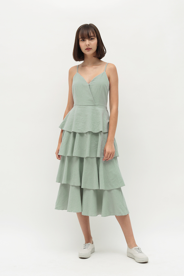SOPHIA CUPCAKE MIDI DRESS IN SAGE
