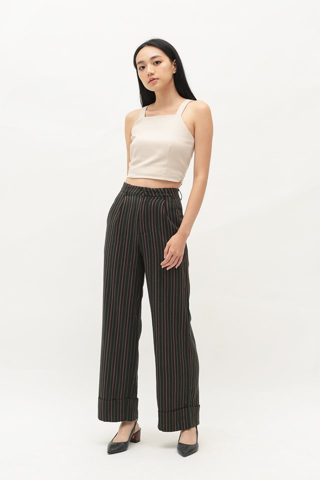 ARCADE x CHLOEANDCHOO STRIPED PANTS IN DARK NAVY