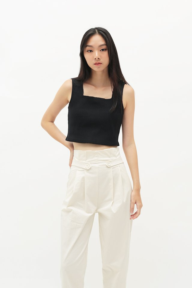 ARCADE x ELKANTLERS RIBBED TOP IN BLACK