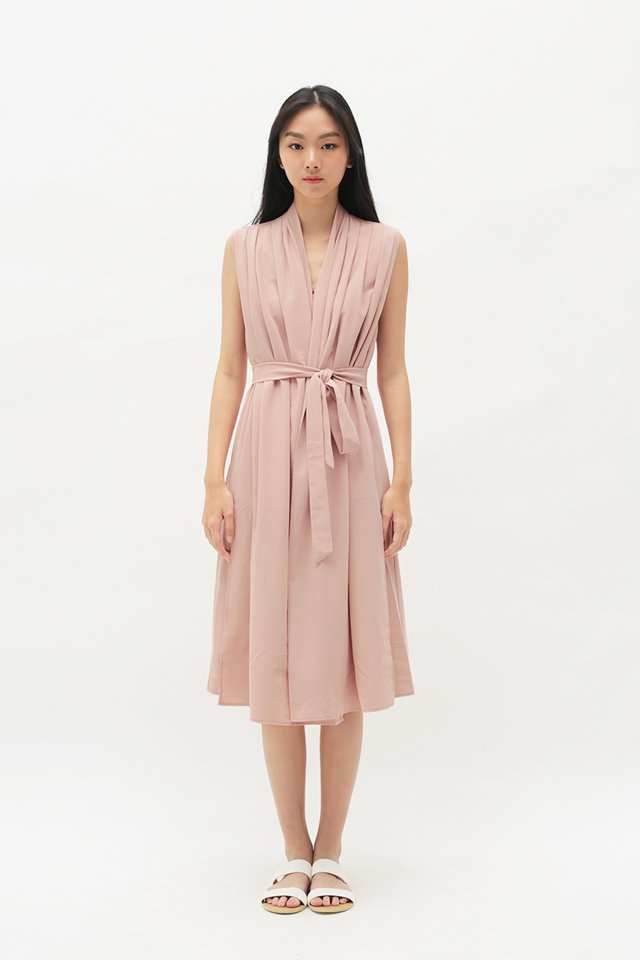 ARCADE x ELKANTLERS WRAP DRESS IN PINK