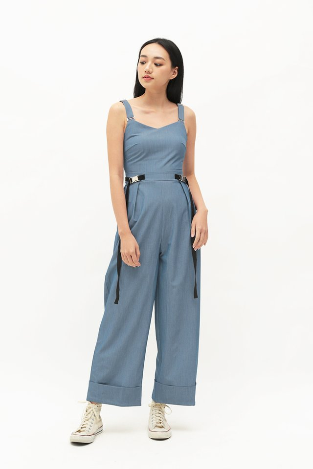 ARCADE x CHLOEANDCHOO JUMPSUIT IN CHAMBRAY BLUE