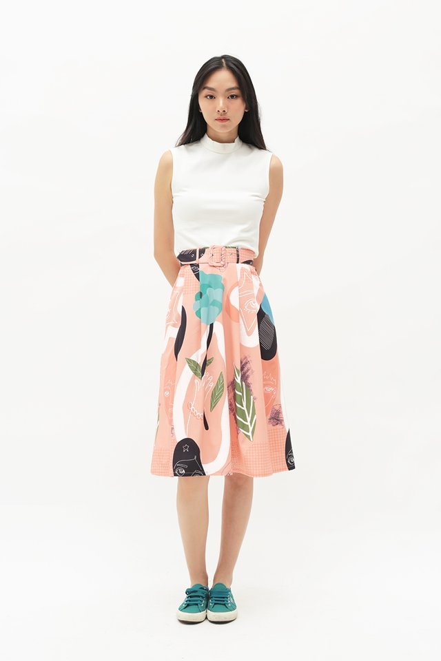 ARCADE x TEETEEHEEHEE ABSTRACT BELTED SKIRT IN BLUSH