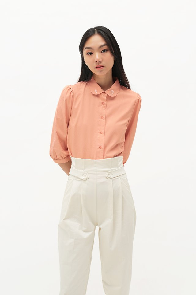 ARCADE x TEETEEHEEHEE EMBROIDERED TOP IN BLUSH
