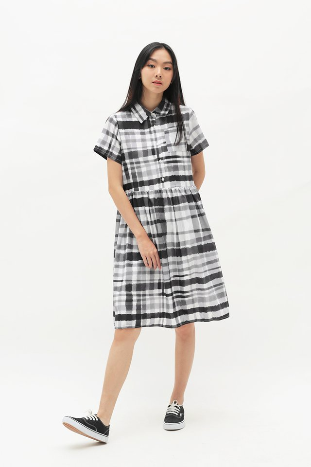 ARCADE x TEETEEHEEHEE GINGHAM DRESS IN BLACK