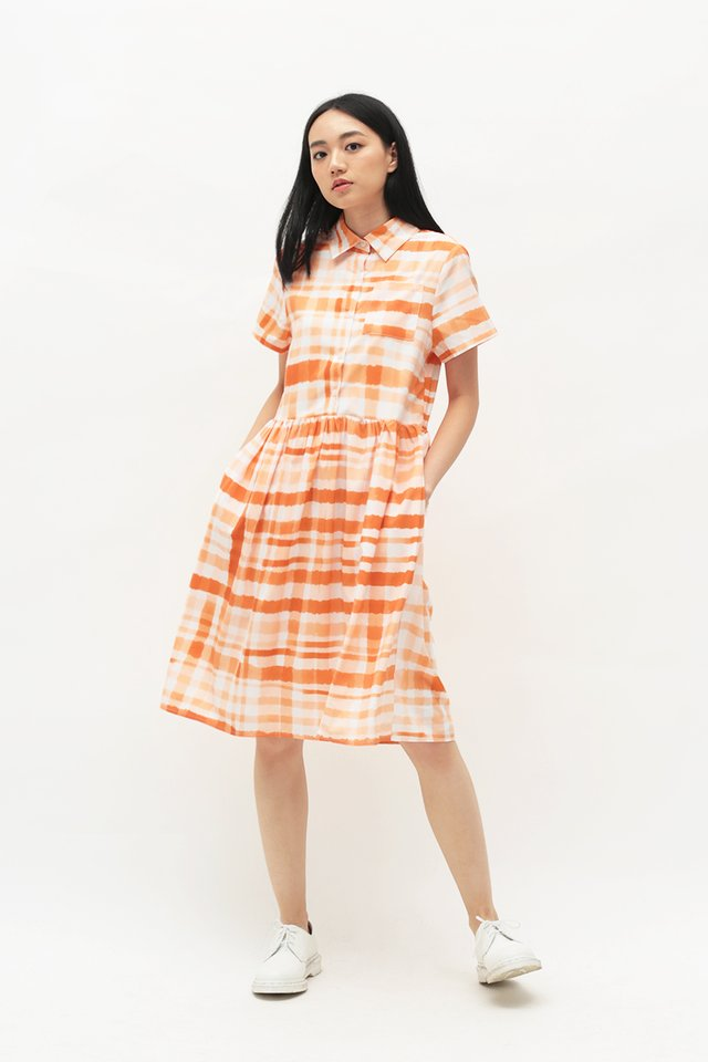 ARCADE x TEETEEHEEHEE GINGHAM DRESS IN MARMALADE