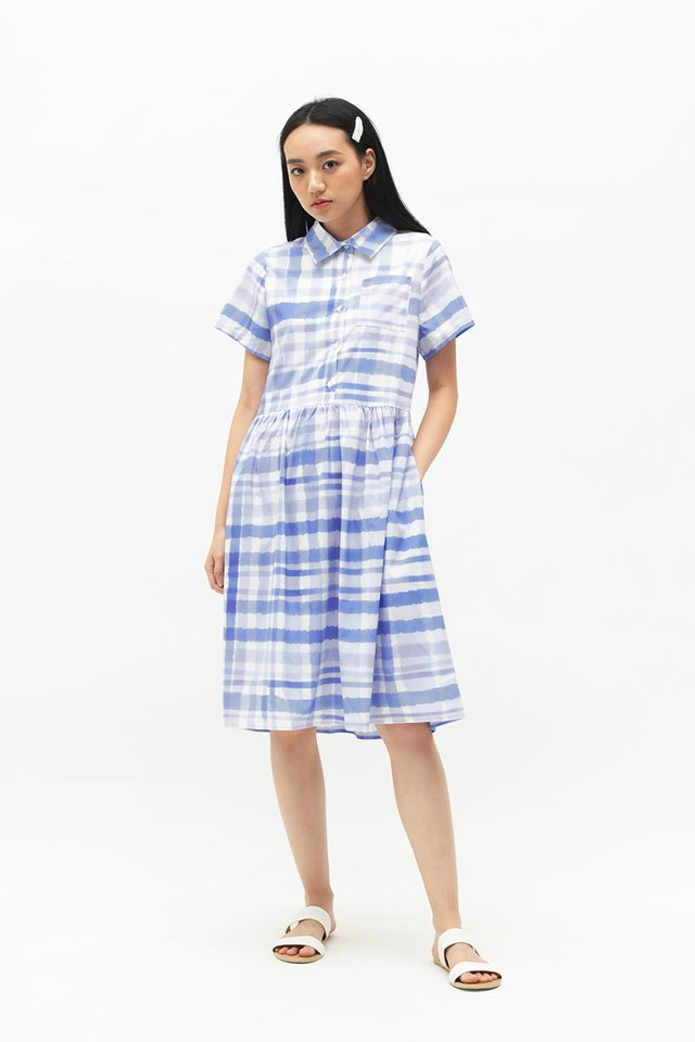 ARCADE x TEETEEHEEHEE GINGHAM DRESS IN PERIWINKLE