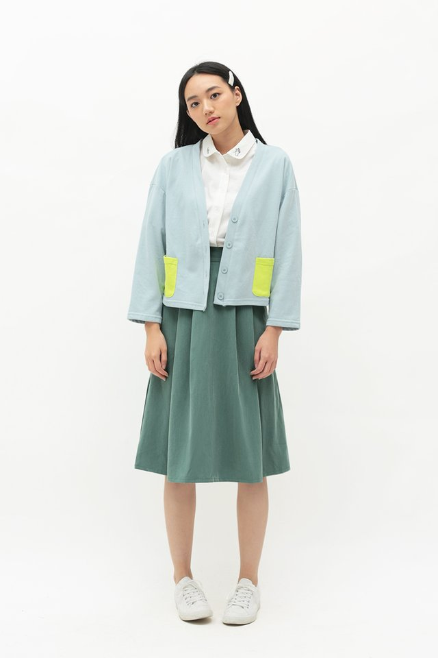 ARCADE x TEETEEHEEHEE POCKET CARDIGAN IN DUSK BLUE