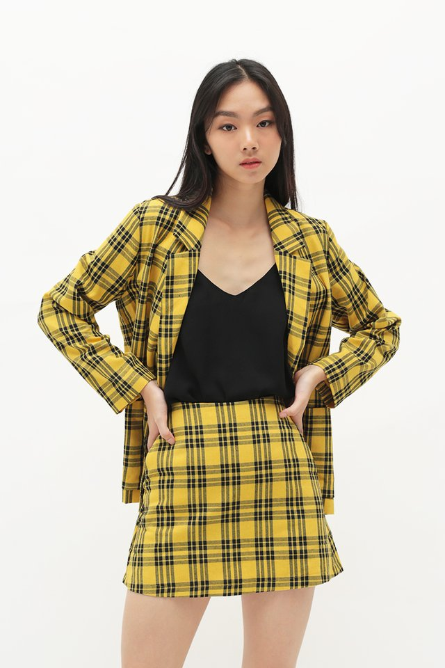 ACE GIRL PLAID SKORTS IN YELLOW