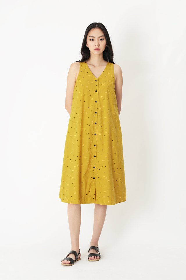 ARYA POLKADOT MIDI DRESS IN HONEY