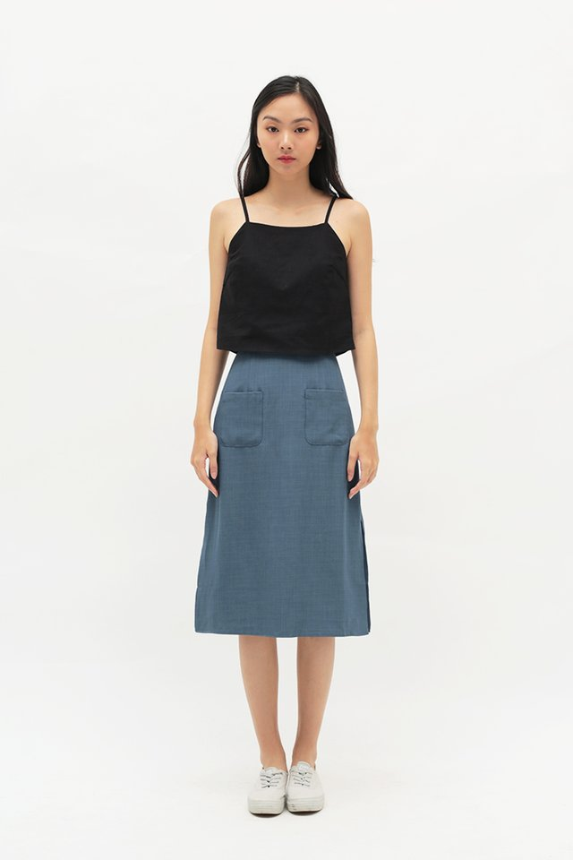 AVA PATCH POCKET SKIRT IN DUSK BLUE