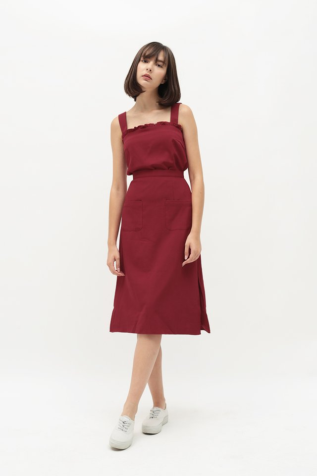 AVA PATCH POCKET SKIRT IN ROUGE