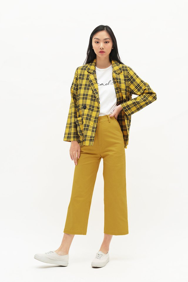 BERNADETTE PLAID POCKET BLAZER IN YELLOW