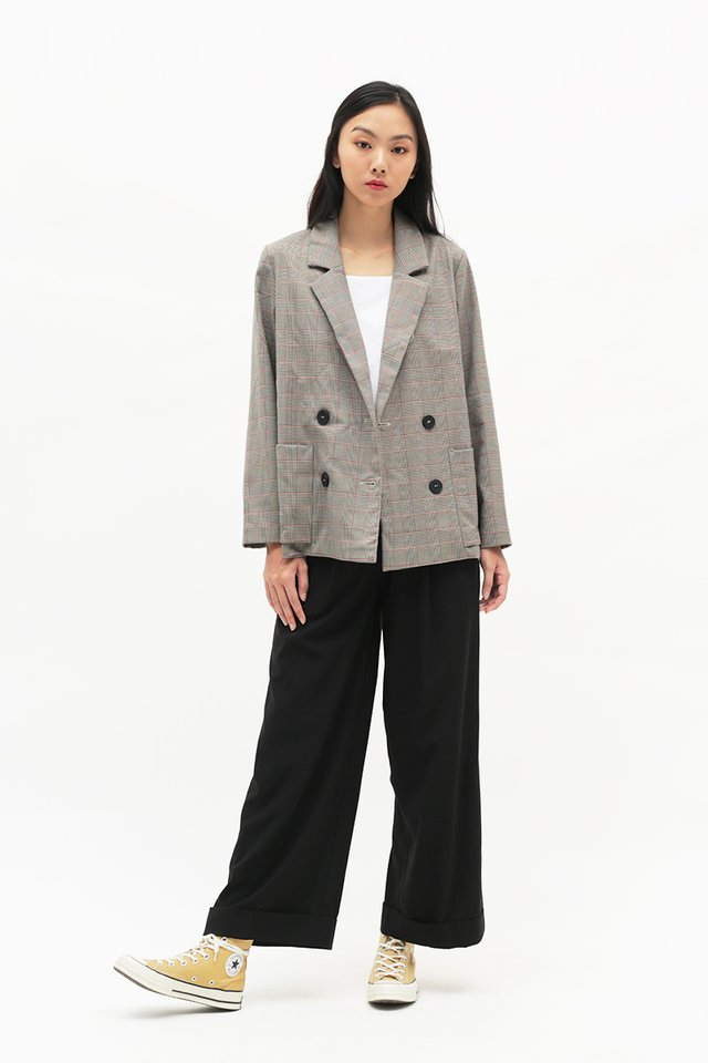 BERNADETTE PLAID POCKET BLAZER IN GREY