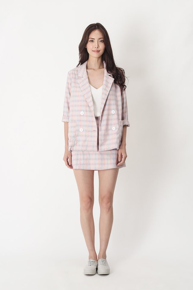 BERNADETTE PLAID POCKET BLAZER IN PINK