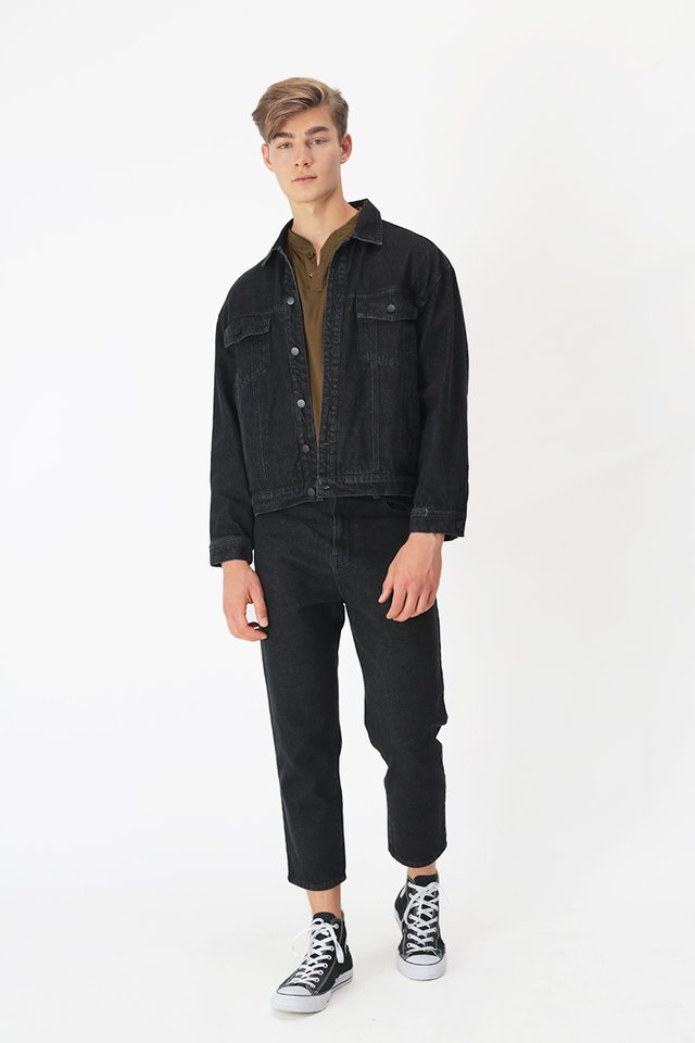 FLINT RELAXED-FIT DENIM JEANS IN BLACK