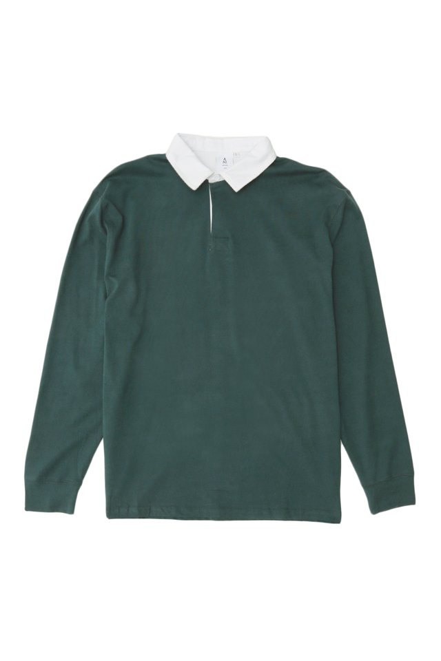 LIAM LONG SLEEVE RUGBY POLO IN TEAL