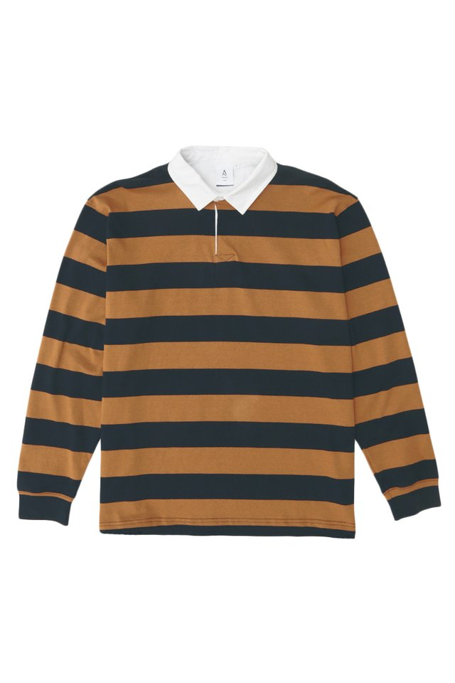 LIAM LONG SLEEVE STRIPED RUGBY POLO IN NAVY/RUST