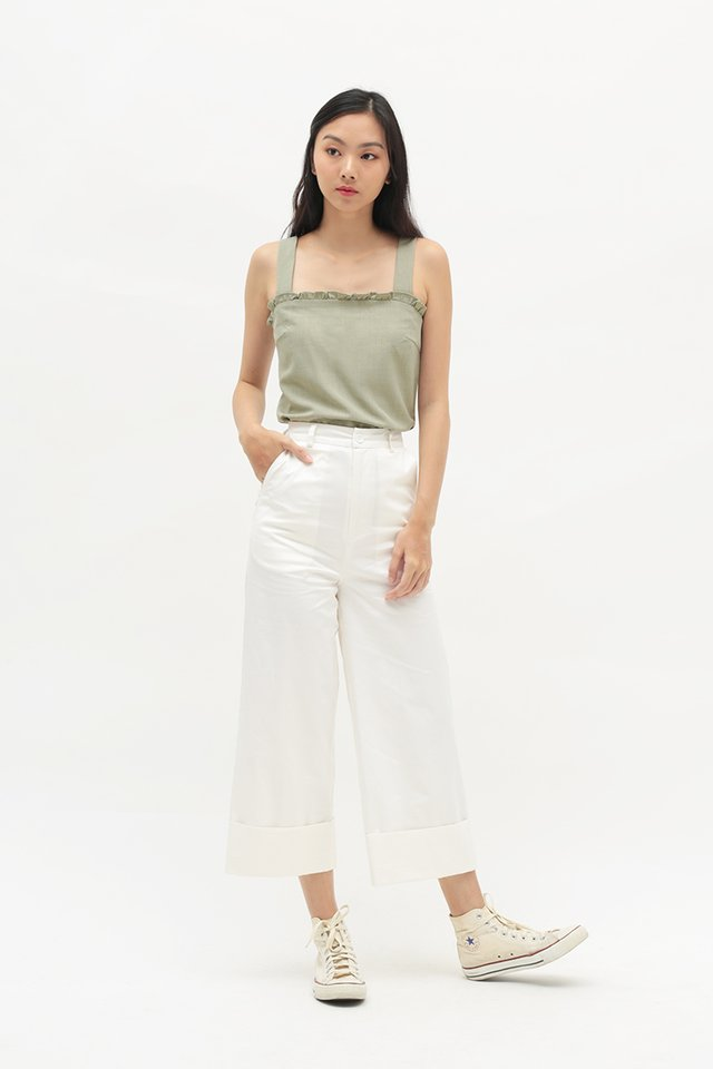 MIA FRILL TOP IN SAGE