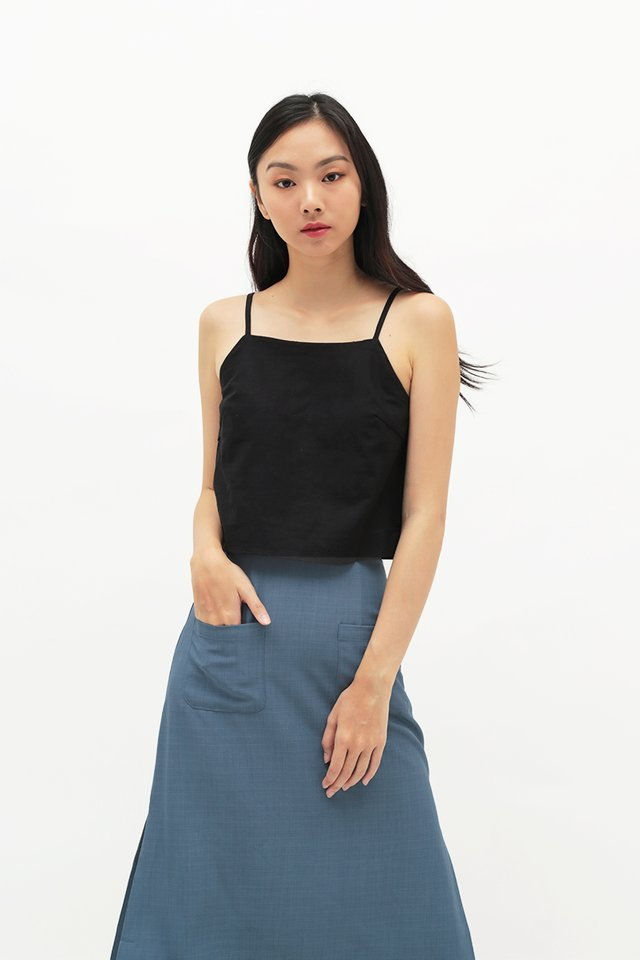 NAIA LINEN TOP IN BLACK