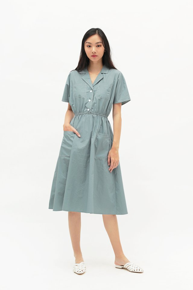 PEYTON MIDI SHIRT DRESS IN DUSK BLUE