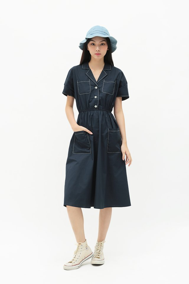 PEYTON MIDI SHIRT DRESS IN NAVY