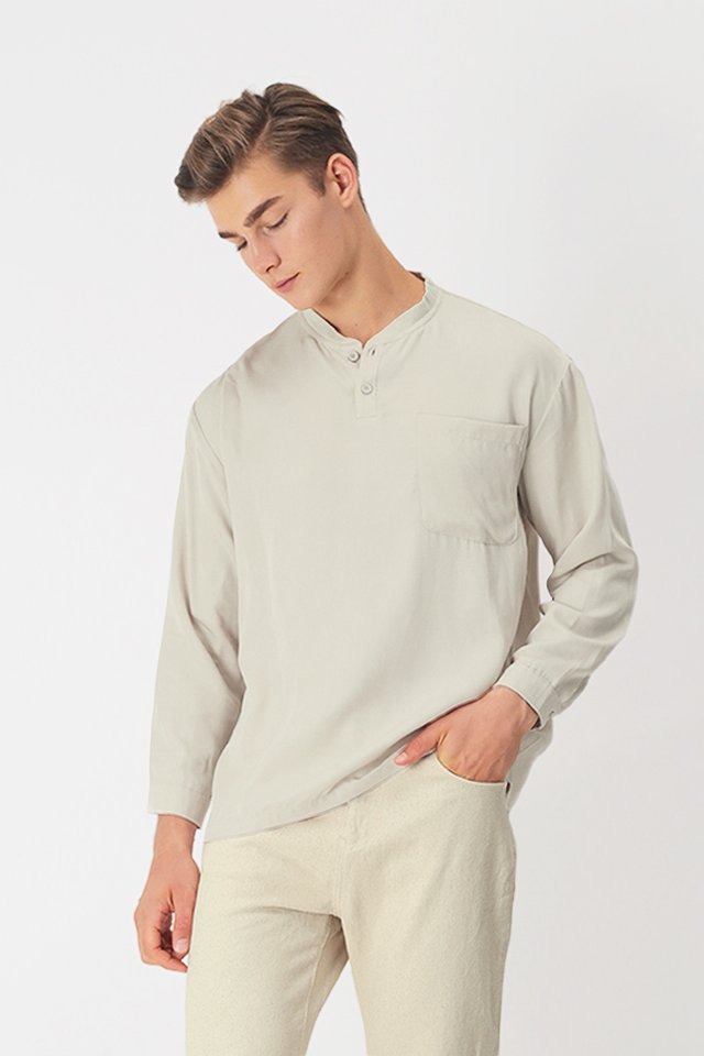 ROWAN LONG SLEEVE HENLEY SHIRT IN CREAM