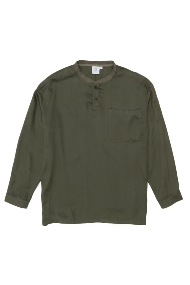 ROWAN LONG SLEEVE HENLEY SHIRT IN OLIVE