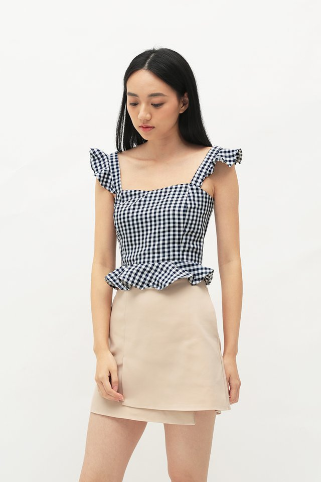 VANECIA GINGHAM FLUTTER TOP IN NAVY